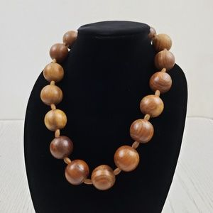 Vintage Chunky Wood Bead Necklace Collar Boho Eco